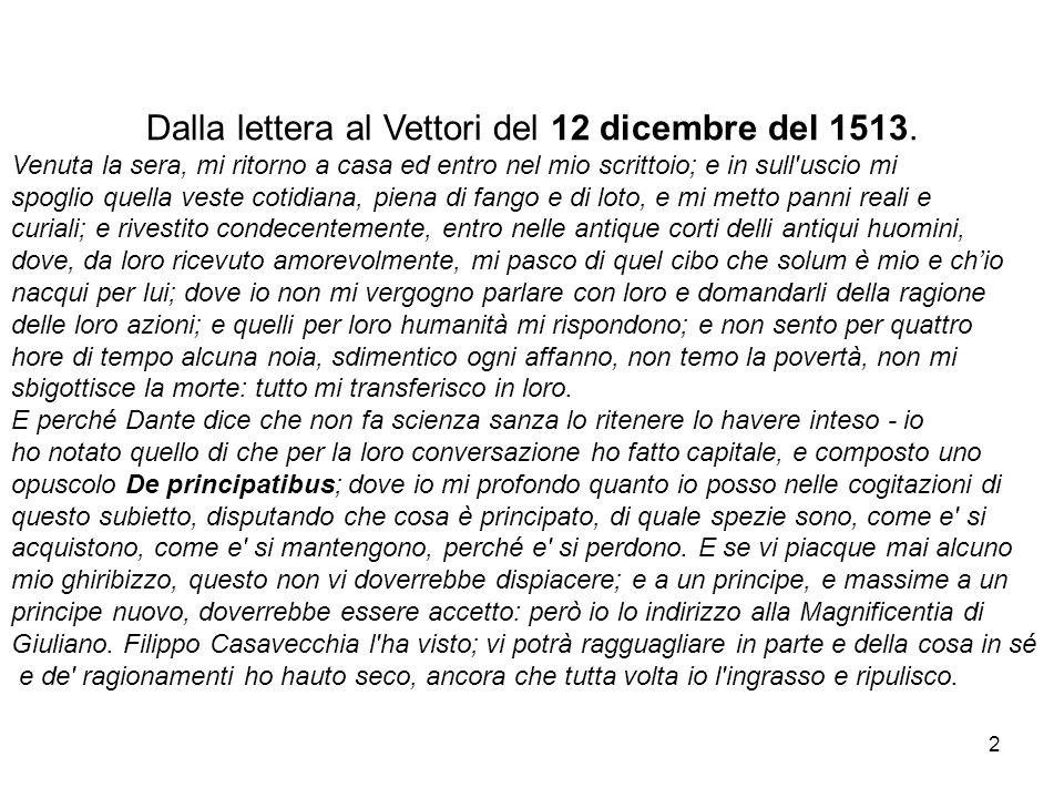 Dalla lettera al Vettori del 12 dicembre del 1513. Venuta la sera, mi ritorno a casa ed entro nel mio scrittoio; e in sull'uscio mi spoglio quella ves
