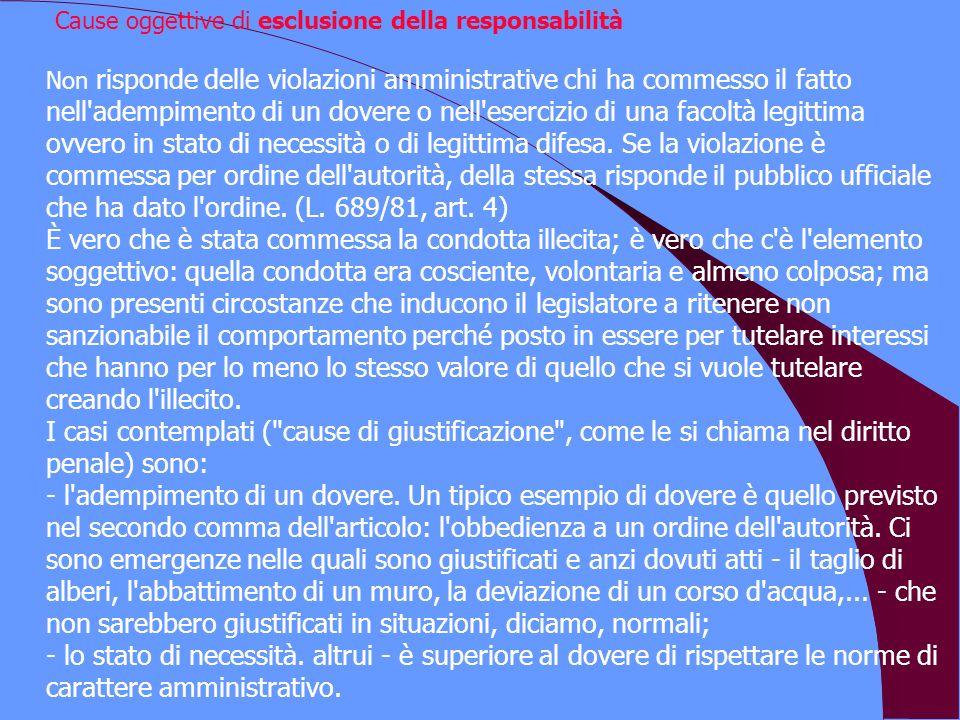Cause oggettive di esclusione della responsabilità Non risponde delle violazioni amministrative chi ha commesso il fatto nell'adempimento di un dovere