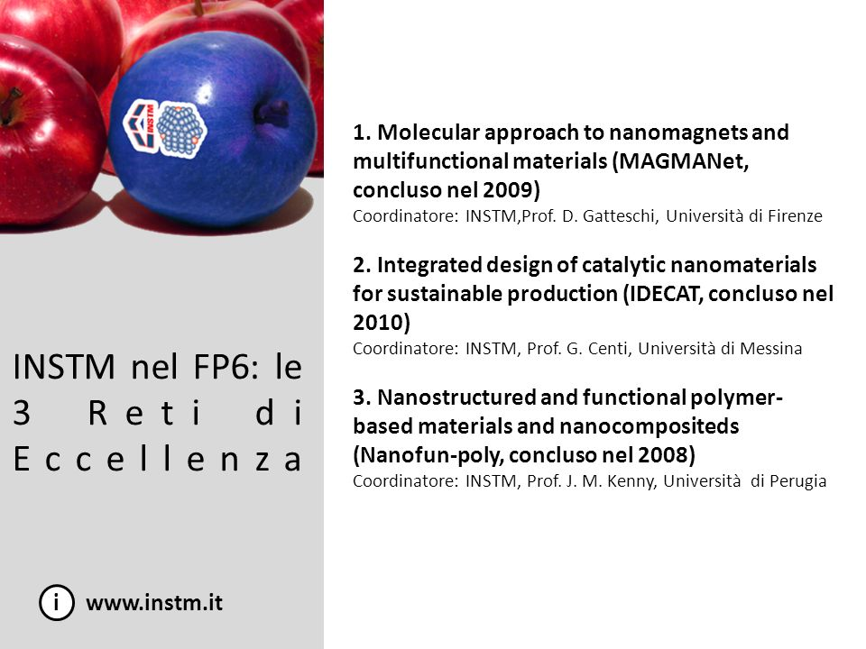 INSTM nel FP6: le 3 Reti di Eccellenza i www.instm.it 1. Molecular approach to nanomagnets and multifunctional materials (MAGMANet, concluso nel 2009)