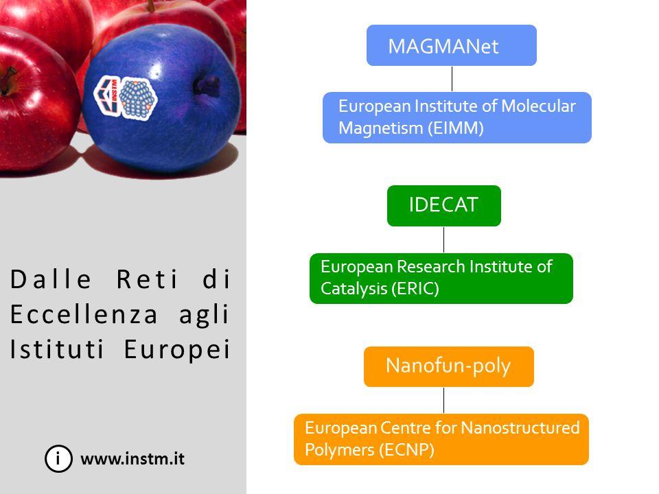 Dalle Reti di Eccellenza agli Istituti Europei i www.instm.it MAGMANet IDECAT Nanofun-poly European Institute of Molecular Magnetism (EIMM) European R