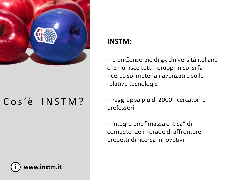 Cosè INSTM? i www.instm.it INSTM: è un Consorzio di 45 Università italiane che riunisce tutti i gruppi in cui si fa ricerca sui materiali avanzati e s