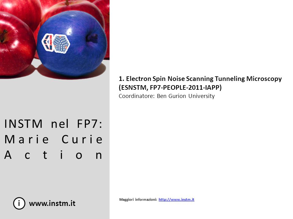 INSTM nel FP7: Marie Curie Action i www.instm.it 1. Electron Spin Noise Scanning Tunneling Microscopy (ESNSTM, FP7-PEOPLE-2011-IAPP) Coordinatore: Ben