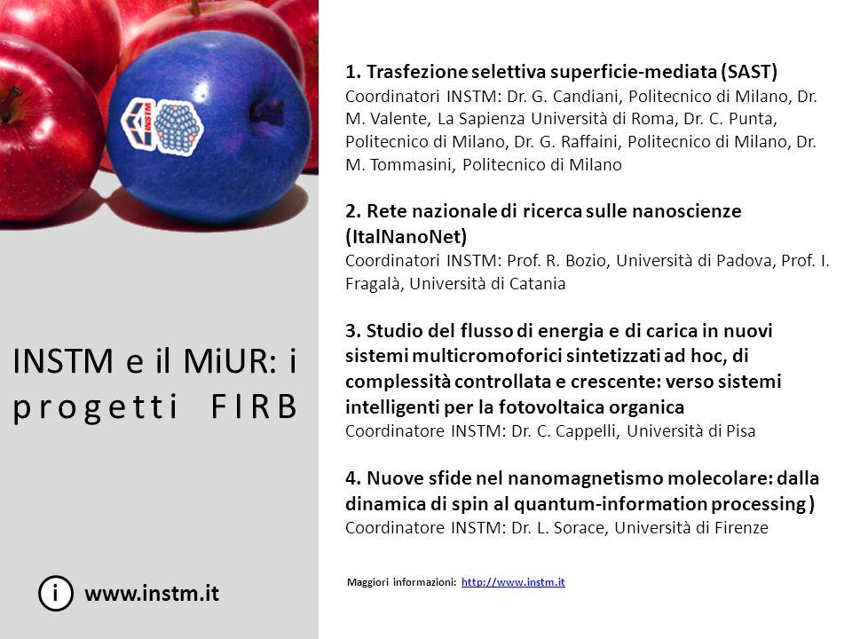 INSTM e il MiUR: i progetti FIRB i www.instm.it 1. Trasfezione selettiva superficie-mediata (SAST) Coordinatori INSTM: Dr. G. Candiani, Politecnico di