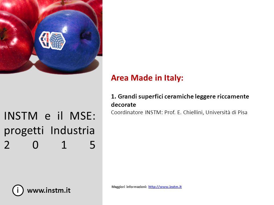INSTM e il MSE: progetti Industria 2015 i www.instm.it Area Made in Italy: 1. Grandi superfici ceramiche leggere riccamente decorate Coordinatore INST