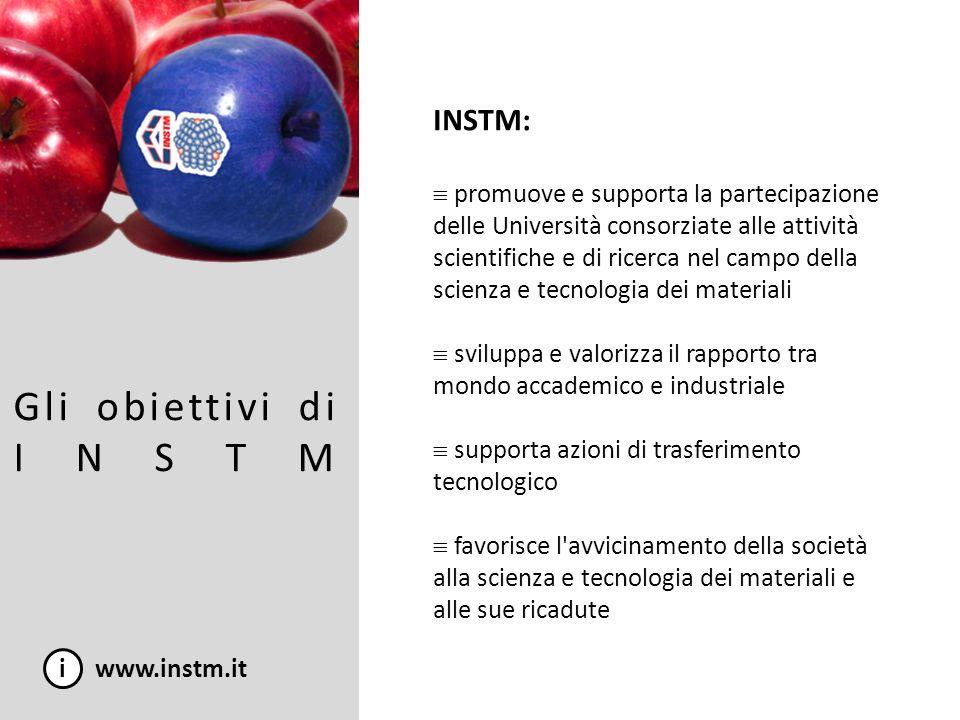 Gli obiettivi di INSTM i www.instm.it INSTM: promuove e supporta la partecipazione delle Università consorziate alle attività scientifiche e di ricerc