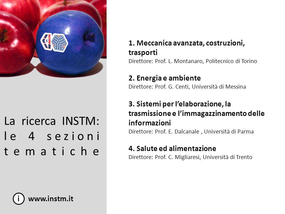 La ricerca INSTM: le 4 sezioni tematiche i www.instm.it 1. Meccanica avanzata, costruzioni, trasporti Direttore: Prof. L. Montanaro, Politecnico di To