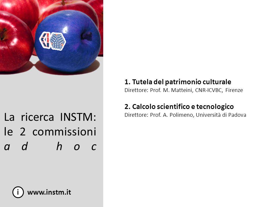 La ricerca INSTM: le 2 commissioni ad hoc i www.instm.it 1. Tutela del patrimonio culturale Direttore: Prof. M. Matteini, CNR-ICVBC, Firenze 2. Calcol