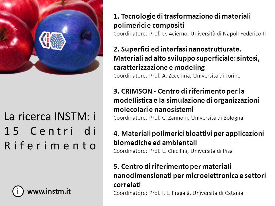 La ricerca INSTM: i 15 Centri di Riferimento i www.instm.it 1. Tecnologie di trasformazione di materiali polimerici e compositi Coordinatore: Prof. D.