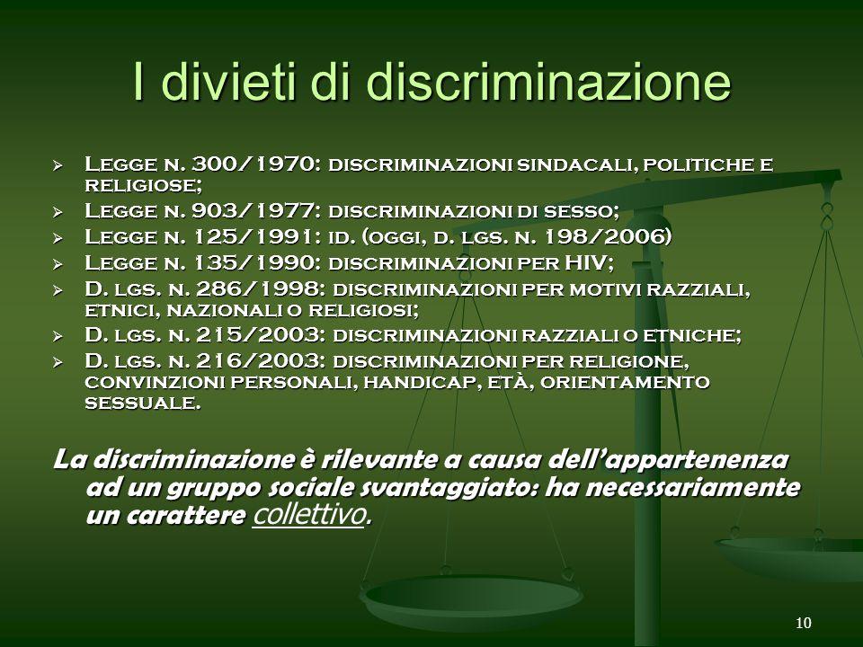 10 I divieti di discriminazione Legge n. 300/1970: discriminazioni sindacali, politiche e religiose; Legge n. 903/1977: discriminazioni di sesso; Legg