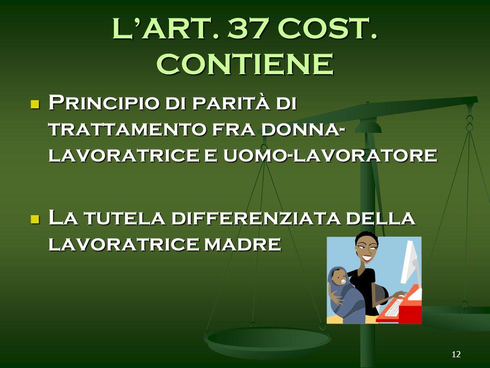 12 LART. 37 COST. CONTIENE Principio di parità di trattamento fra donna- lavoratrice e uomo-lavoratore Principio di parità di trattamento fra donna- l