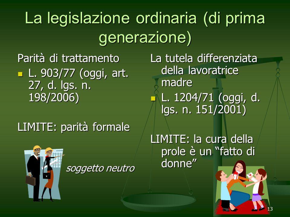 13 La legislazione ordinaria (di prima generazione) Parità di trattamento L. 903/77 (oggi, art. 27, d. lgs. n. 198/2006) L. 903/77 (oggi, art. 27, d.