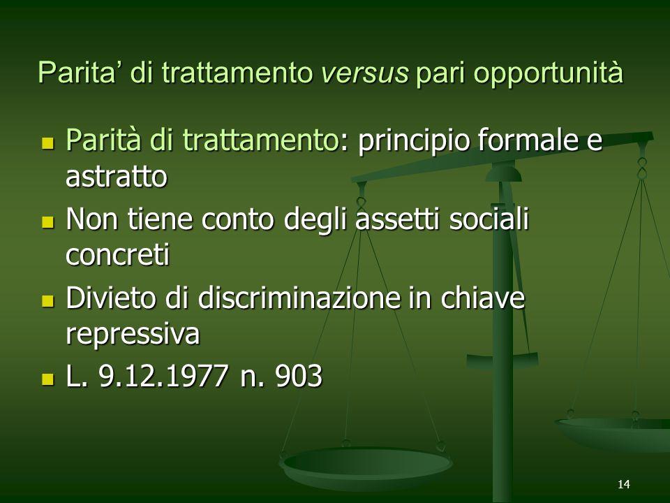 14 Parita di trattamento versus pari opportunità Parità di trattamento: principio formale e astratto Parità di trattamento: principio formale e astrat