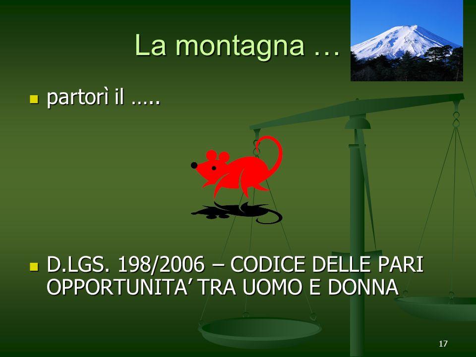 17 La montagna … partorì il ….. partorì il ….. D.LGS. 198/2006 – CODICE DELLE PARI OPPORTUNITA TRA UOMO E DONNA D.LGS. 198/2006 – CODICE DELLE PARI OP