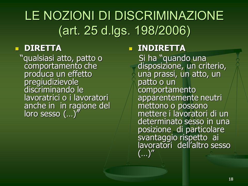 18 LE NOZIONI DI DISCRIMINAZIONE (art. 25 d.lgs. 198/2006) DIRETTA DIRETTA qualsiasi atto, patto o comportamento che produca un effetto pregiudizievol