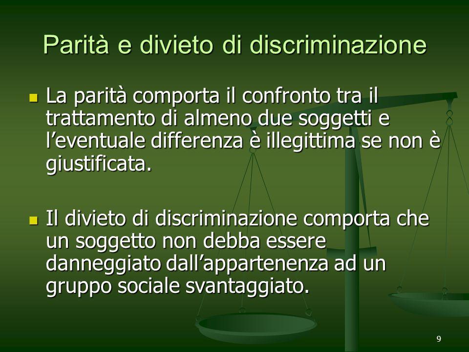 9 Parità e divieto di discriminazione La parità comporta il confronto tra il trattamento di almeno due soggetti e leventuale differenza è illegittima