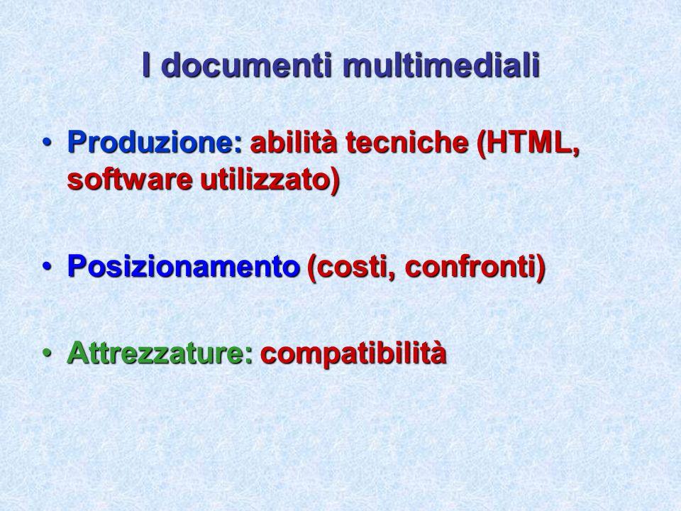 I documenti multimediali Produzione: abilità tecniche (HTML, software utilizzato)Produzione: abilità tecniche (HTML, software utilizzato) Posizionamen