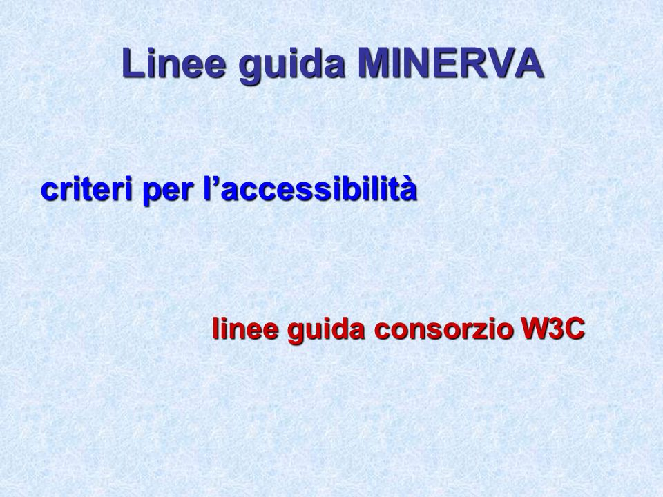 Linee guida MINERVA criteri per laccessibilità linee guida consorzio W3C linee guida consorzio W3C