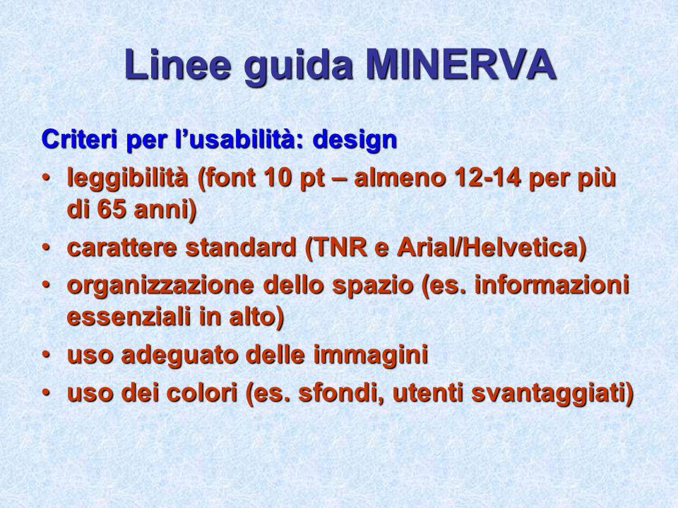 Linee guida MINERVA Criteri per lusabilità: design leggibilità (font 10 pt – almeno 12-14 per più di 65 anni)leggibilità (font 10 pt – almeno 12-14 pe