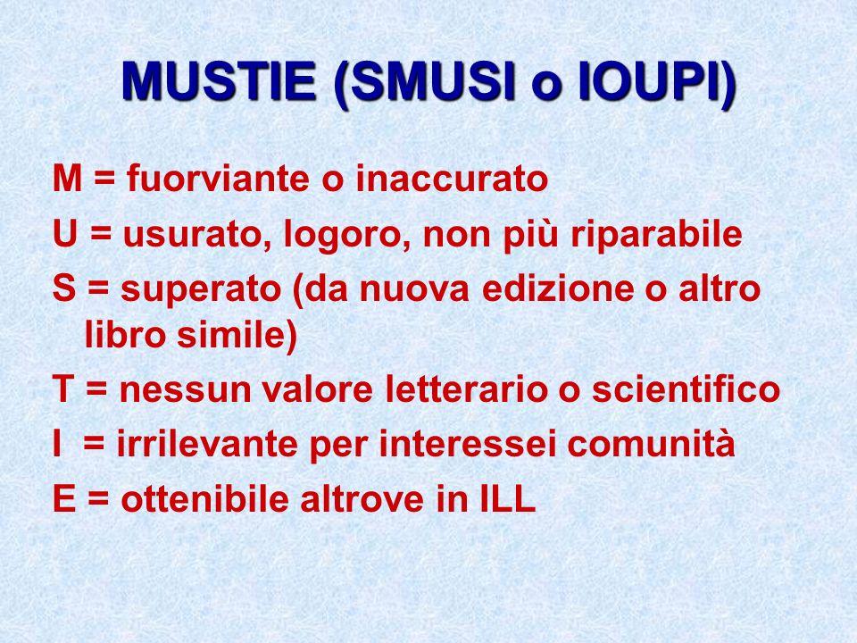 MUSTIE (SMUSI o IOUPI) M = fuorviante o inaccurato U = usurato, logoro, non più riparabile S = superato (da nuova edizione o altro libro simile) T = n