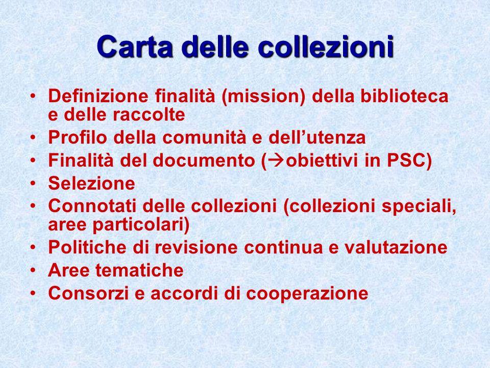 Carta delle collezioni Definizione finalità (mission) della biblioteca e delle raccolte Profilo della comunità e dellutenza Finalità del documento ( o