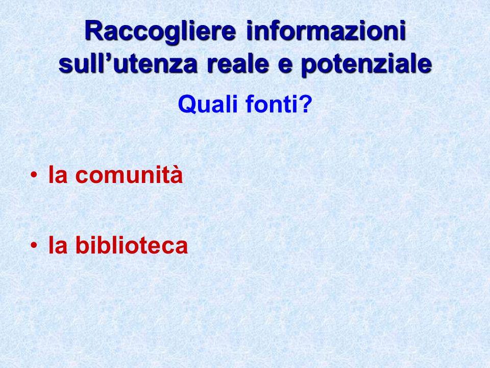 Raccogliere informazioni sullutenza reale e potenziale Quali fonti? la comunità la biblioteca