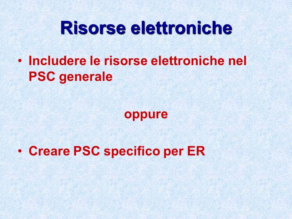 Risorse elettroniche Includere le risorse elettroniche nel PSC generale oppure Creare PSC specifico per ER