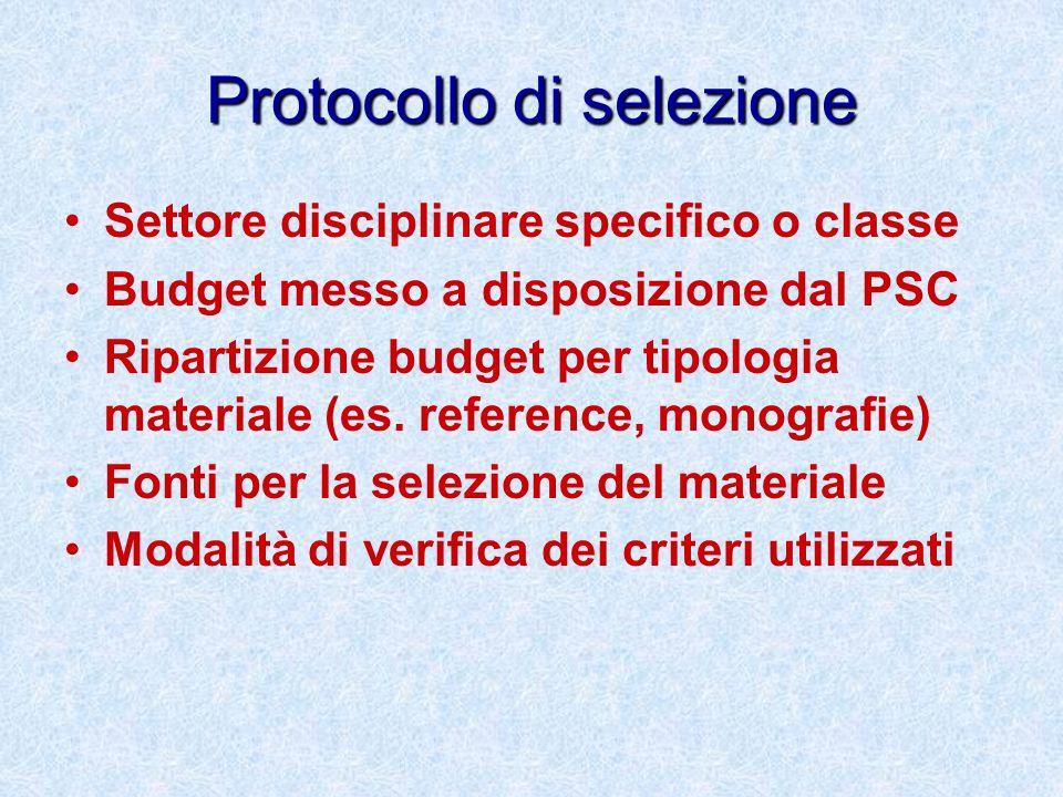 Protocollo di selezione Settore disciplinare specifico o classe Budget messo a disposizione dal PSC Ripartizione budget per tipologia materiale (es. r