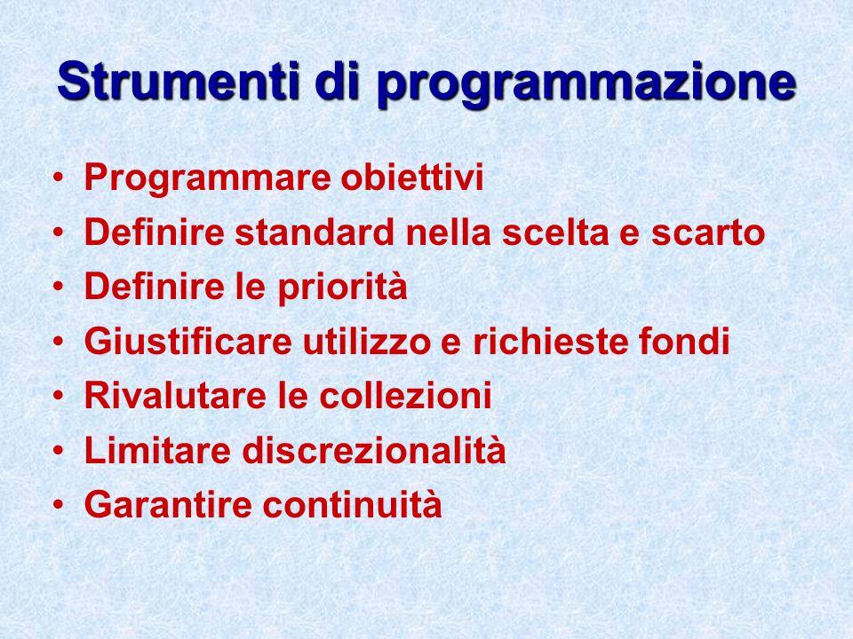 Strumenti di programmazione Programmare obiettivi Definire standard nella scelta e scarto Definire le priorità Giustificare utilizzo e richieste fondi