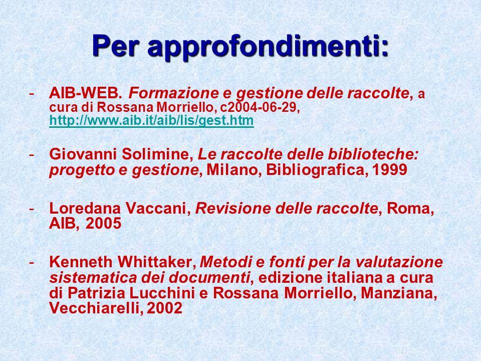 Per approfondimenti: -AIB-WEB. Formazione e gestione delle raccolte, a cura di Rossana Morriello, c2004-06-29, http://www.aib.it/aib/lis/gest.htm http