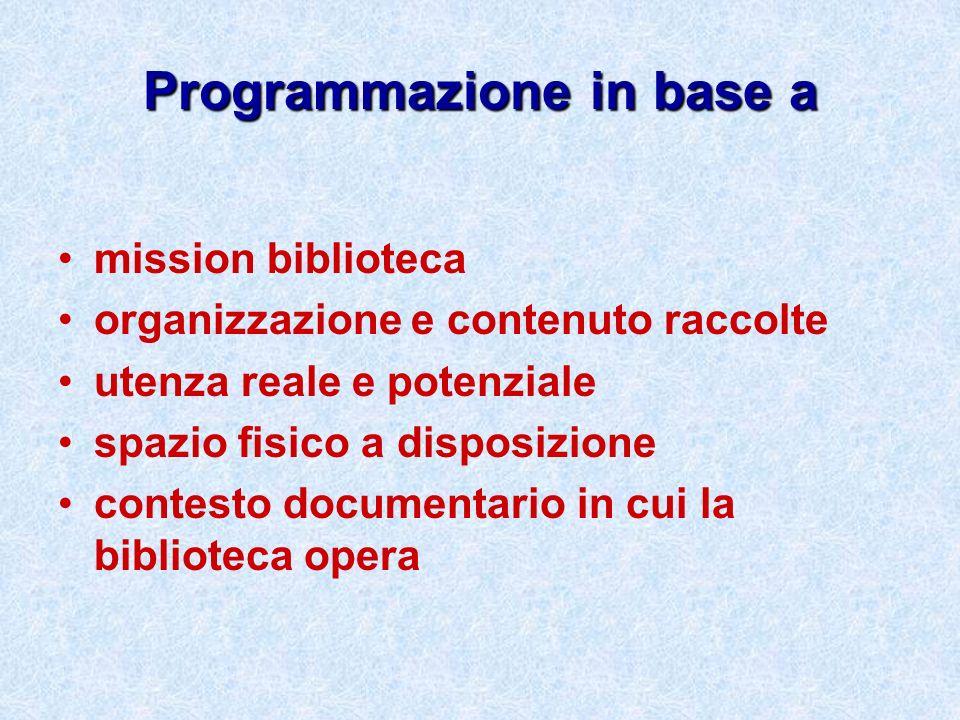Programmazione in base a mission biblioteca organizzazione e contenuto raccolte utenza reale e potenziale spazio fisico a disposizione contesto docume