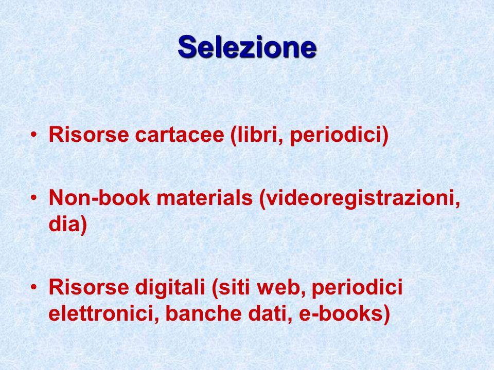 Selezione Risorse cartacee (libri, periodici) Non-book materials (videoregistrazioni, dia) Risorse digitali (siti web, periodici elettronici, banche d