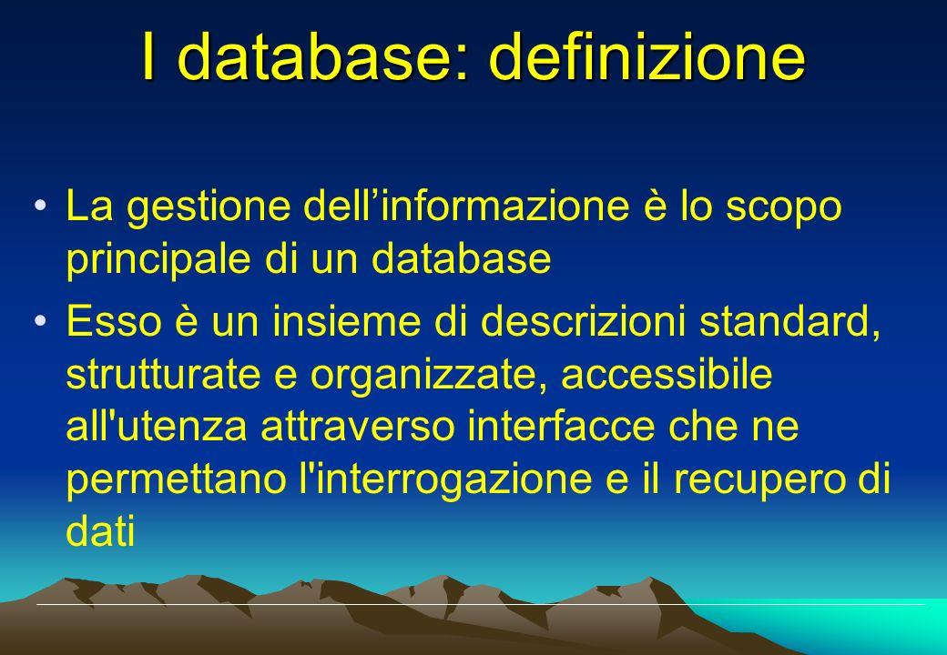 I database: definizione La gestione dellinformazione è lo scopo principale di un database Esso è un insieme di descrizioni standard, strutturate e org