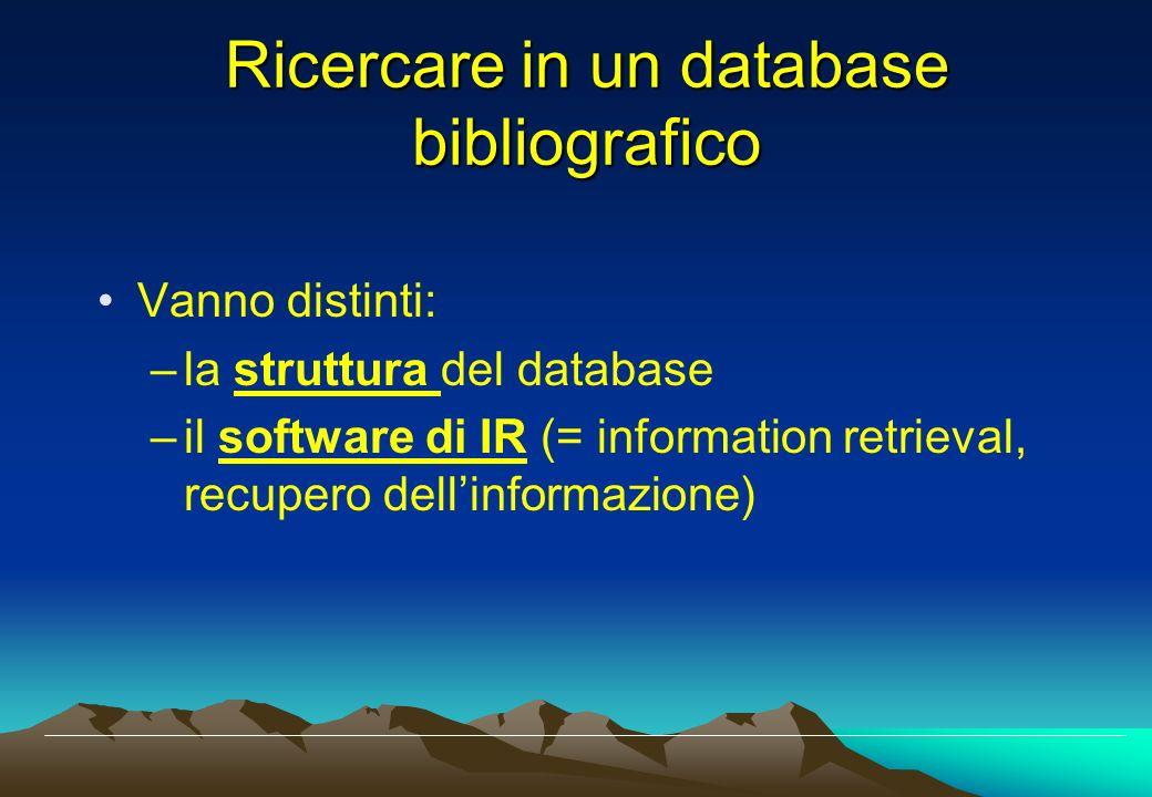 Ricercare in un database bibliografico Vanno distinti: –la struttura del database –il software di IR (= information retrieval, recupero dellinformazio