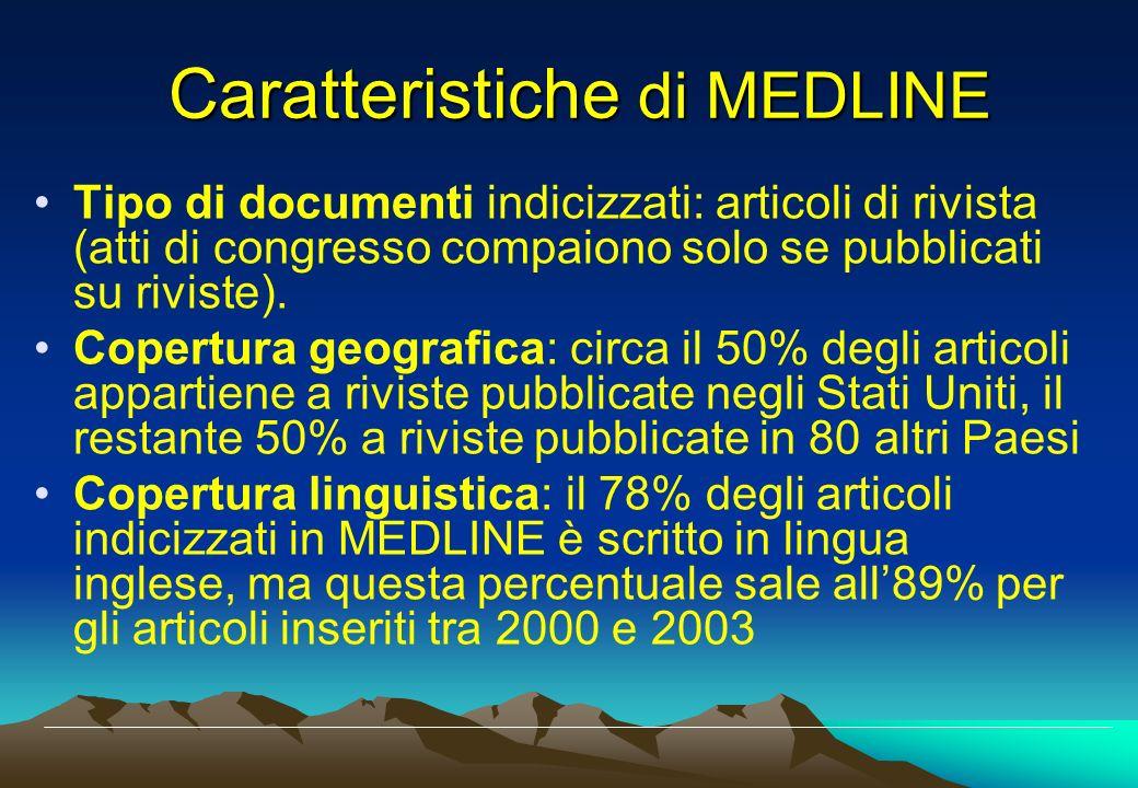 Caratteristiche di MEDLINE Tipo di documenti indicizzati: articoli di rivista (atti di congresso compaiono solo se pubblicati su riviste). Copertura g
