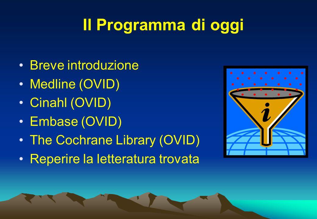 Breve introduzione Medline (OVID) Cinahl (OVID) Embase (OVID) The Cochrane Library (OVID) Reperire la letteratura trovata Il Programma di oggi