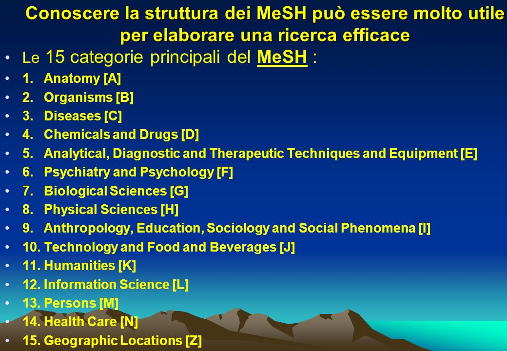 Le 15 categorie principali del MeSH : 1. Anatomy [A] 2. Organisms [B] 3. Diseases [C] 4. Chemicals and Drugs [D] 5. Analytical, Diagnostic and Therape
