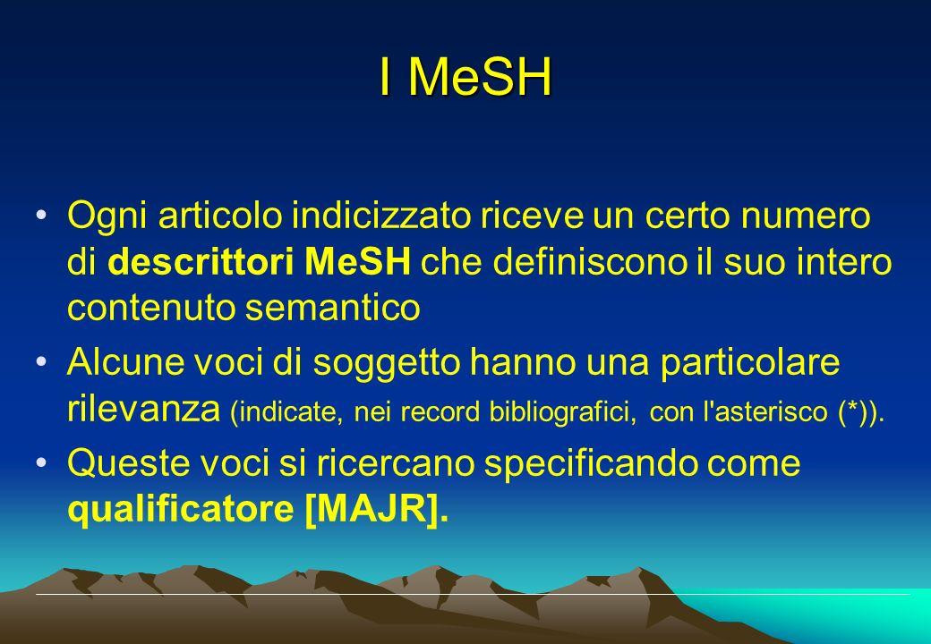 Ogni articolo indicizzato riceve un certo numero di descrittori MeSH che definiscono il suo intero contenuto semantico Alcune voci di soggetto hanno u
