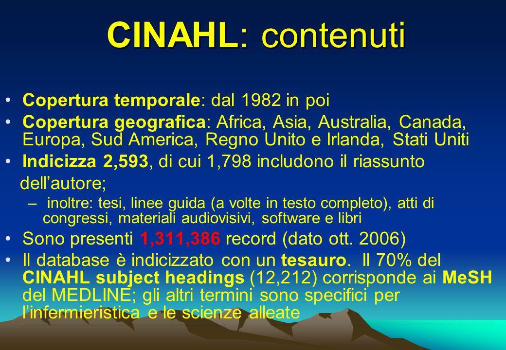 Copertura temporale: dal 1982 in poi Copertura geografica: Africa, Asia, Australia, Canada, Europa, Sud America, Regno Unito e Irlanda, Stati Uniti In