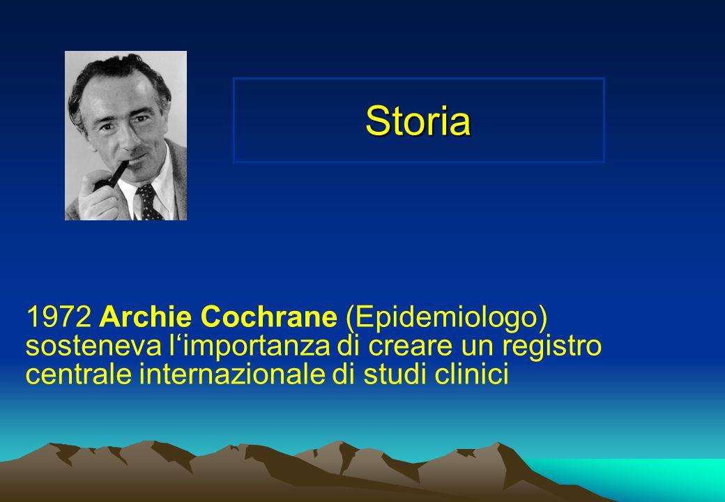 Storia 1972 Archie Cochrane (Epidemiologo) sosteneva limportanza di creare un registro centrale internazionale di studi clinici