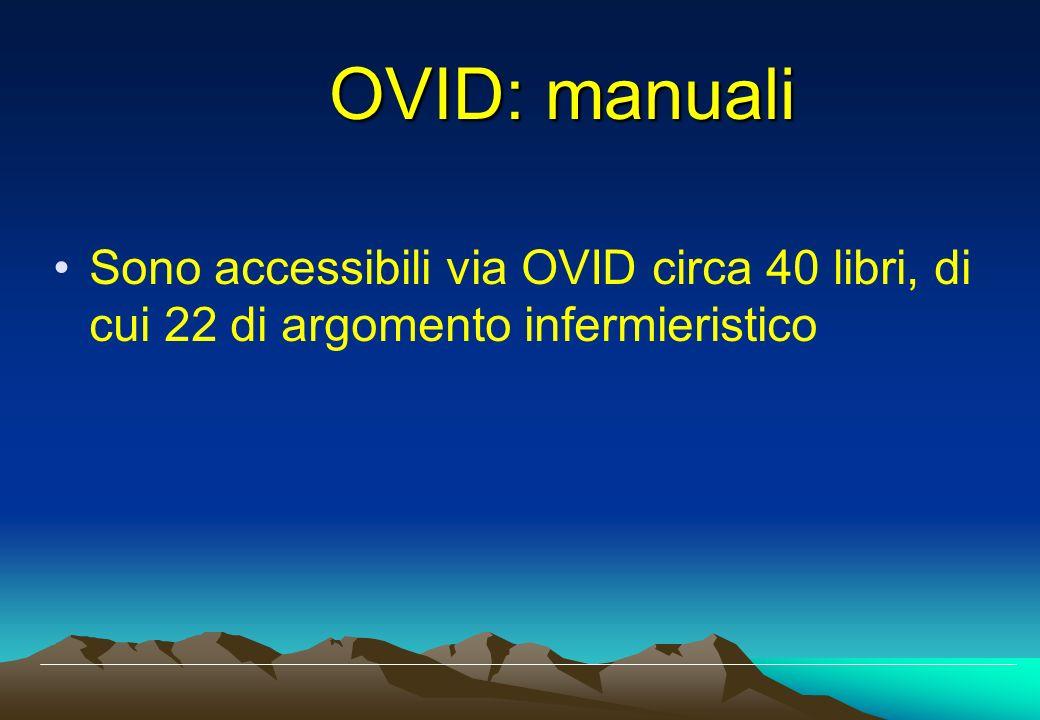 Sono accessibili via OVID circa 40 libri, di cui 22 di argomento infermieristico OVID: manuali