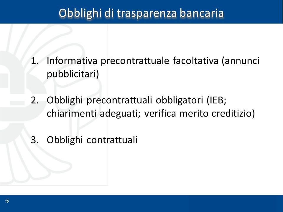 10 Obblighi di trasparenza bancaria 1.Informativa precontrattuale facoltativa (annunci pubblicitari) 2.Obblighi precontrattuali obbligatori (IEB; chia