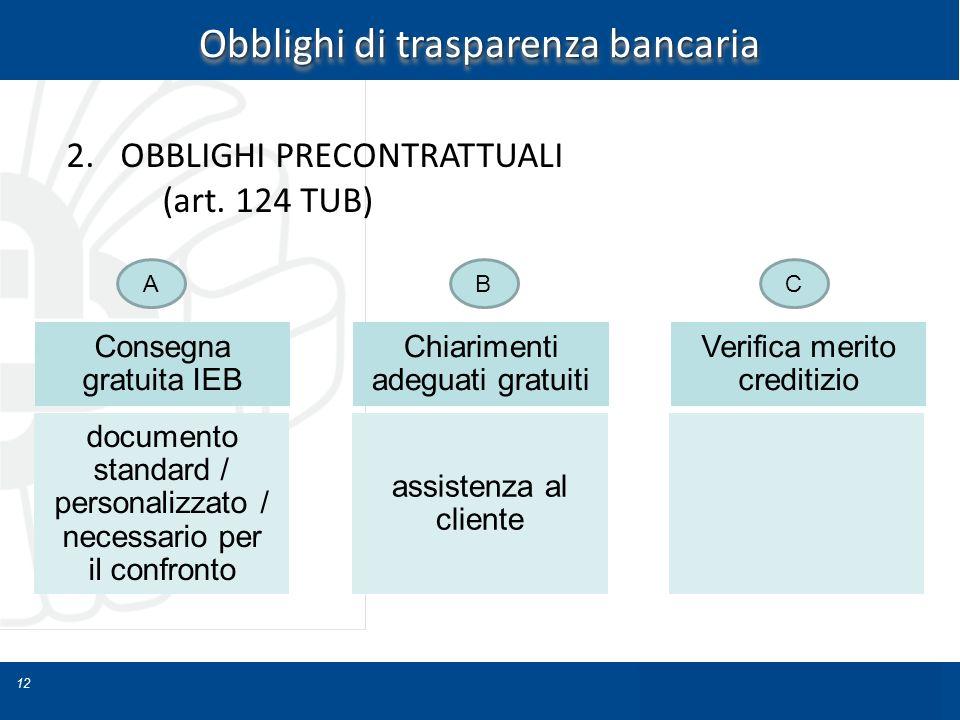 12 Obblighi di trasparenza bancaria 2.OBBLIGHI PRECONTRATTUALI (art. 124 TUB) Consegna gratuita IEB documento standard / personalizzato / necessario p