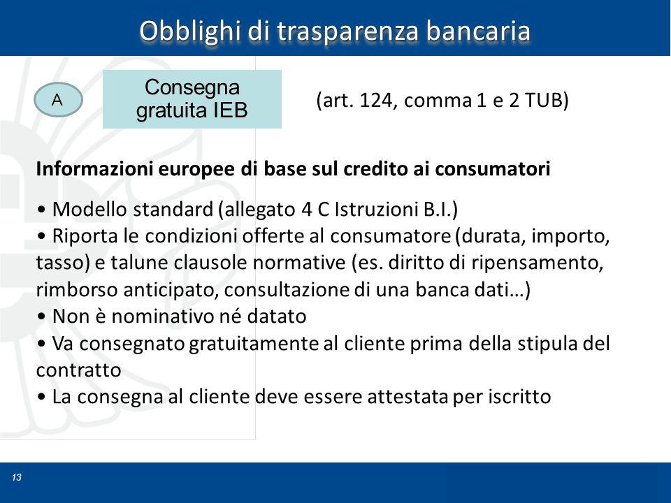 13 Obblighi di trasparenza bancaria Informazioni europee di base sul credito ai consumatori Modello standard (allegato 4 C Istruzioni B.I.) Riporta le