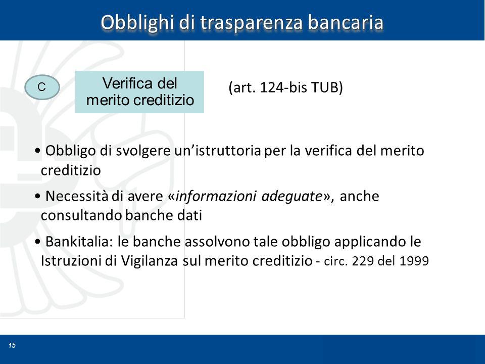 15 Obblighi di trasparenza bancaria Obbligo di svolgere unistruttoria per la verifica del merito creditizio Necessità di avere «informazioni adeguate»