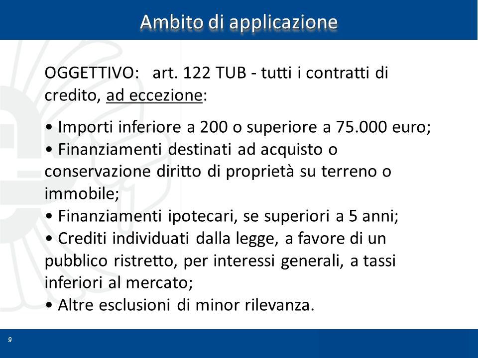 9 Ambito di applicazione OGGETTIVO: art. 122 TUB - tutti i contratti di credito, ad eccezione: Importi inferiore a 200 o superiore a 75.000 euro; Fina