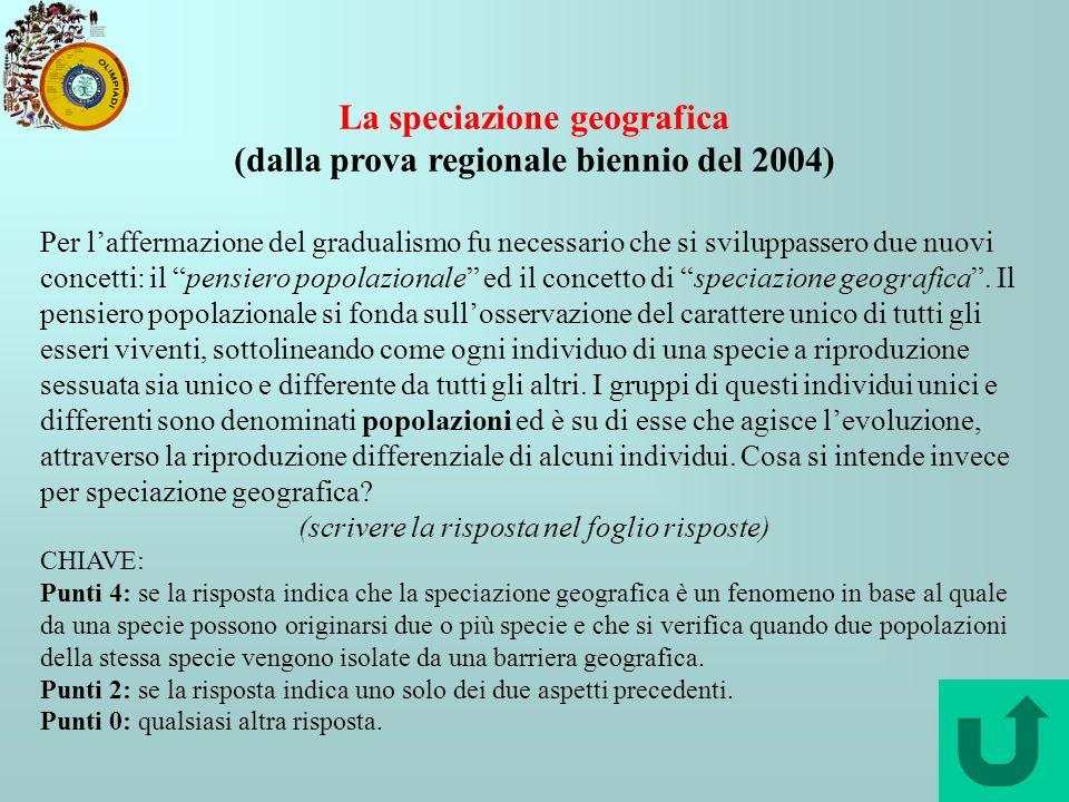 La speciazione geografica (dalla prova regionale biennio del 2004) Per laffermazione del gradualismo fu necessario che si sviluppassero due nuovi conc