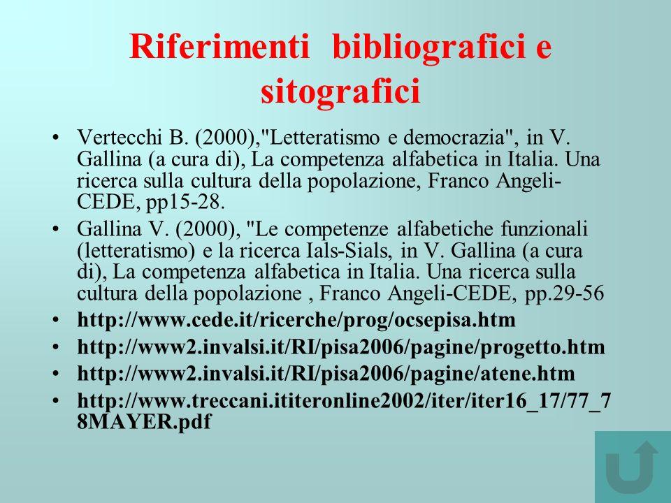 Riferimenti bibliografici e sitografici Vertecchi B. (2000),