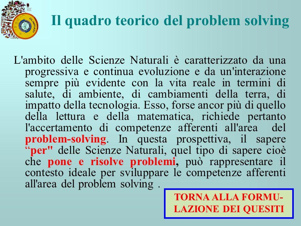 Il quadro teorico del problem solving L'ambito delle Scienze Naturali è caratterizzato da una progressiva e continua evoluzione e da un'interazione se