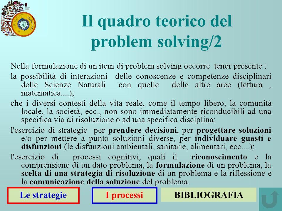 Nella formulazione di un item di problem solving occorre tener presente : la possibilità di interazioni delle conoscenze e competenze disciplinari del