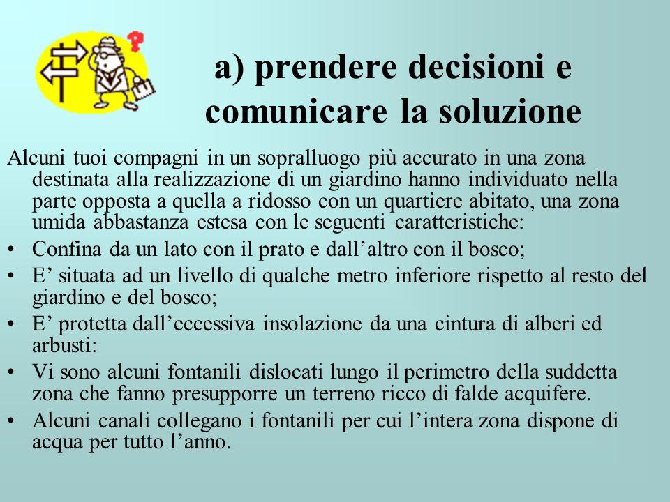 a) prendere decisioni e comunicare la soluzione Alcuni tuoi compagni in un sopralluogo più accurato in una zona destinata alla realizzazione di un gia